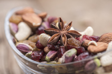 Pistachio and nuts in a bowl