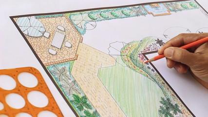 Landscape architect design L shape garden plan