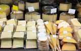 Tasty cheese in packs and in bulk
