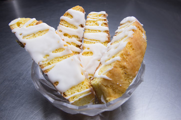 Lemon Biscotti with icing