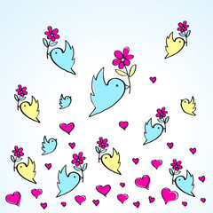 birds and flowers heart love fly group element color sketch
