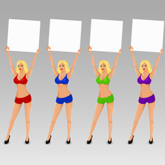 Set of vector boxing ring girls holding a board with place for