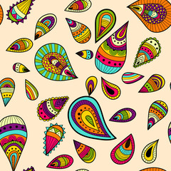 Seamless pattern with colorful abstract drops ornaments