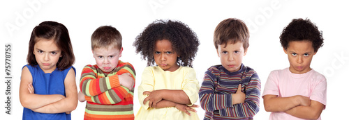 Leinwanddruck Bild Five angry children