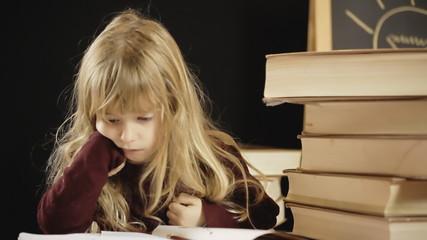 Little girl school tired sleeping