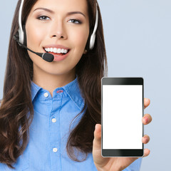 Support phone operator showing blank cellphone