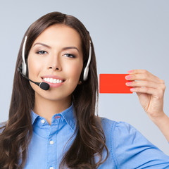 Support phone operator showing blank red card