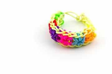 Colorful of elastic rainbow loom bands.