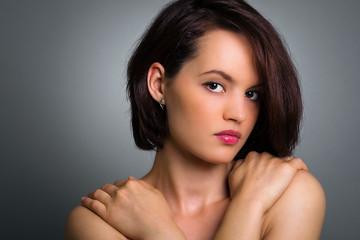 Closeup portrait of a chic female