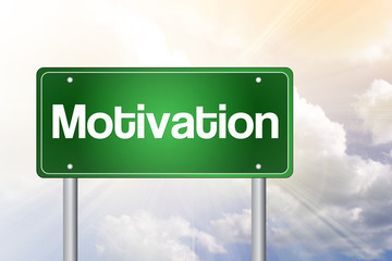 Motivation Green Road Sign, business concept