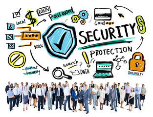 Ethnicity Business People Security Protection Corporate Concept