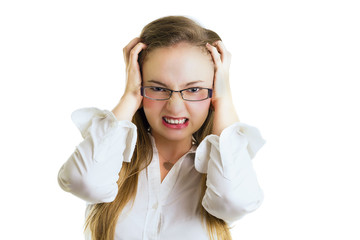 Angry young businesswoman with glasses