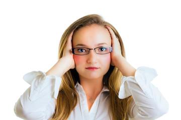 Thoughtfull blonde young schoolgirl portrait.