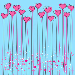 valentines background with hearts - vector illustration