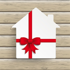 House Red Ribbon Wood
