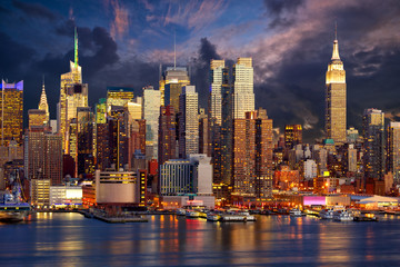 Manhattan Midtown skyline at twilight, New York