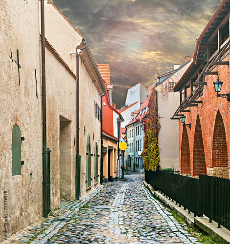 Medieval street in old Riga city, Latvia, Europe - 75779978