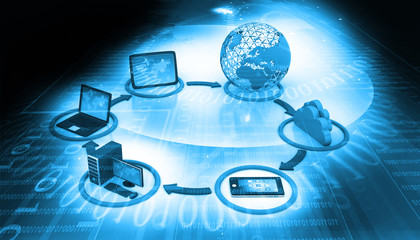 Cloud computing concept on digital background.