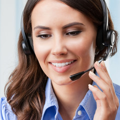 Support phone operator, at workplace