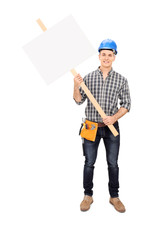 Male construction worker holding a blank sign