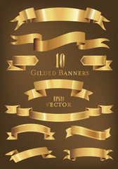 Collection of gilded banners and ribbons vector