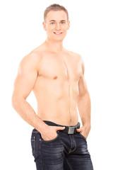 Shirtless handsome guy posing