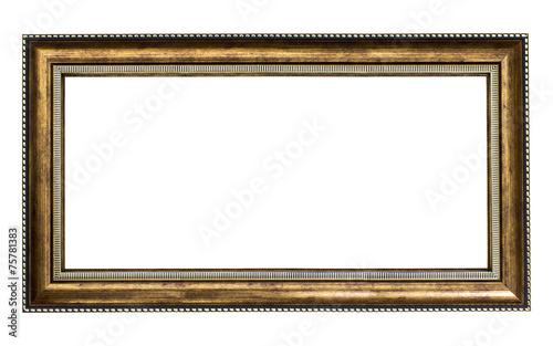 Golden wood frame on white background - 75781383