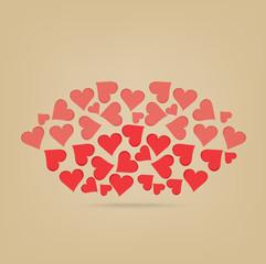Lips made of hearts