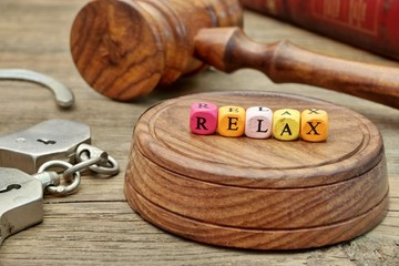 Sign Relax on the Soundboard, Judges Gavel, handcuffs and book i