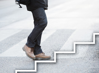 Man taking the next step
