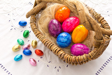 Colorful Easter eggs basket embroidery