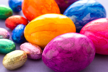 Colourful Easter Eggs close-up