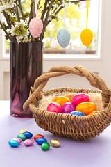Colorful Easter Eggs basket vase