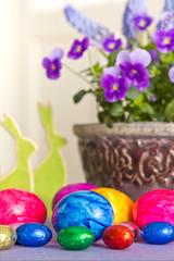 Colorful Easter Eggs bunnies pansies