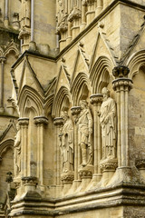 statues on Cathedral facade , Salisbury