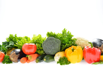 Vegetables and fruits isolated on white background