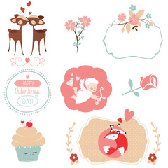 Set of Saint Valentines Day graphic elements and illustrations