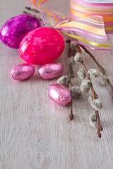 Easter eggs purple lilac ribbon