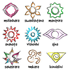 set of chakras symbols
