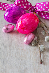 Easter eggs pussy willow bow