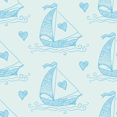 Seamless pattern with Love Ship and Hearts