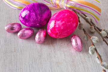 Easter eggs willow copy space