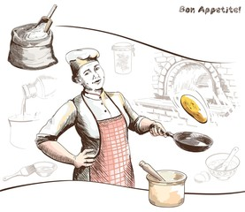woman chef in the cooking process