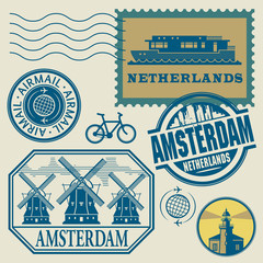 Stamps set with words Netherlands, Amsterdam, vector