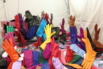 leather gloves on sale in the local market stall