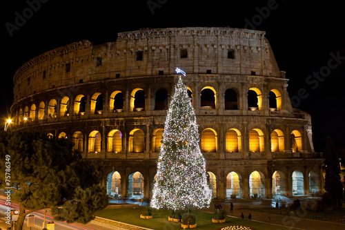 In de dag Rome Coliseum and Christmas Tree in Rome, Italy