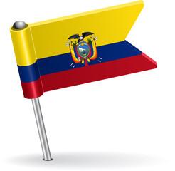 Ecuadorian pin icon flag. Vector illustration