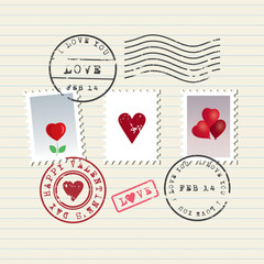 Valentine's Day stamps set