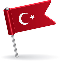 Turkish pin icon flag. Vector illustration