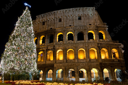 Papiers peints Rome Coliseum and Christmas Tree in Rome, Italy
